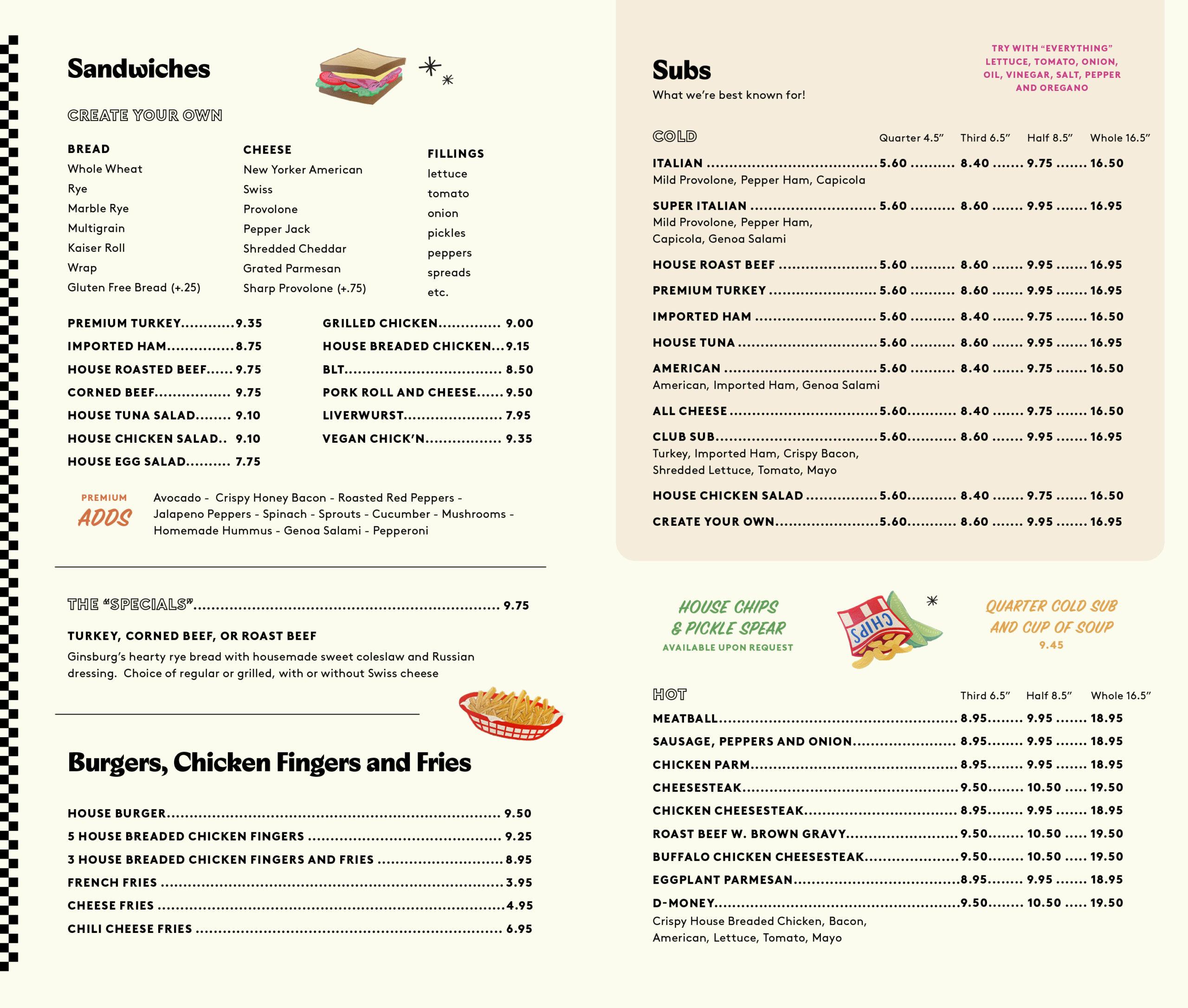 bread board menu sandwiches and subs