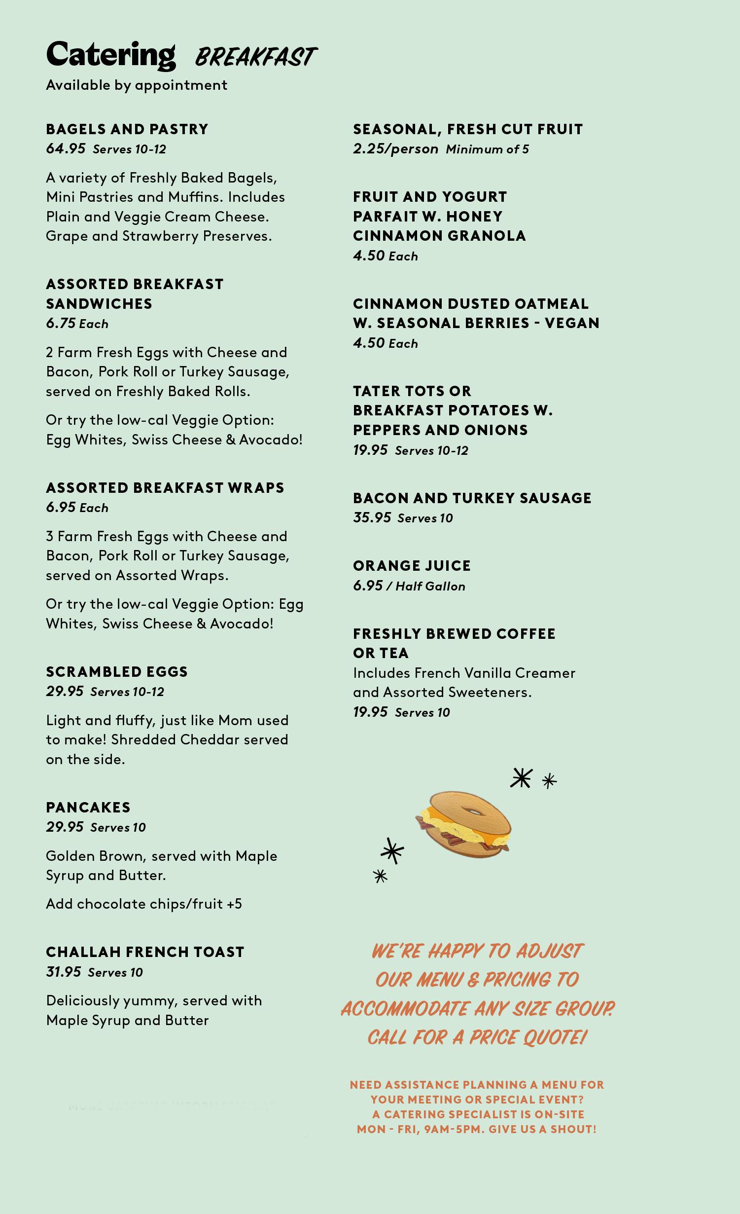 bread board breakfast catering menu